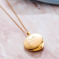 14k Gold Vermeil Engraved Initial Locket Necklace, Gold