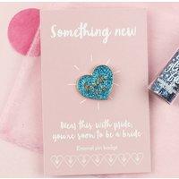 'Bride To Be' Glitter Blue Heart Enamel Pin Badge
