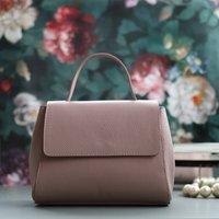 Leather Top Handle Handbag, Blush Pink