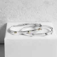 Gold And Sterling Silver Screw Bangle, Silver