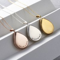 Personalised Large Droplet Locket Necklace