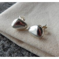 Silver Pebble Stud Earrings, Silver