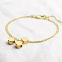 Gold Sterling Silver Circle Bead Bracelet, Silver