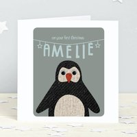 First Christmas Penguin Personalised Card