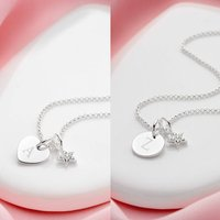 Personalised White Topaz Star Necklace   Heart Or Disc