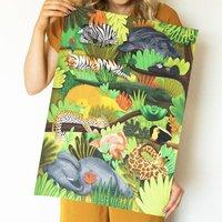 Safari Sleeping Animals Nursery Print