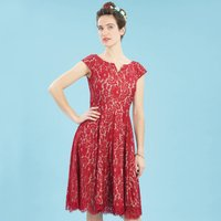 1950s Style Swishy Lace Cocktail Dress, Ruby