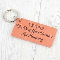 The Day You Became Mummy Personalised Leather Keyring, Blue/Dark Brown/Brown