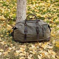 Unisex Waxed Canvas Travel Holdall Bag