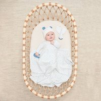 Blue Organic Cotton Blanket, Hat And Teether Gift Set