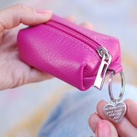 Personalised Leather Coin Purse Keyring