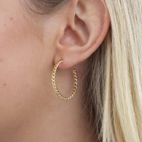 18ct Gold Or Silver Chain Link Hoop Earrings, Silver