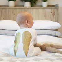Angel Wings Baby Sleepsuit, White/Gold/Black
