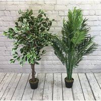 Artificial Palm And Ficus Tree Pair