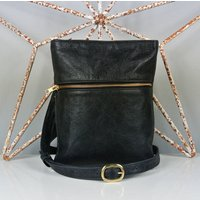 Black Leather Zip Up Marldon Messenger Bag