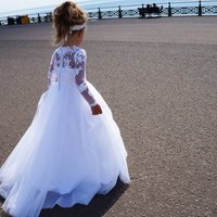 Cynthia ~ Flower Girl In White Or Ivory, White/Rose/Blue
