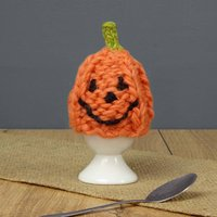 Pumpkin Hand Knit Egg Cosy And Egg Cup