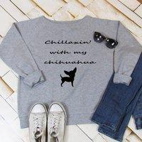 Sweatshirt 'Chillaxin With My Chihuahua', Grey/Black