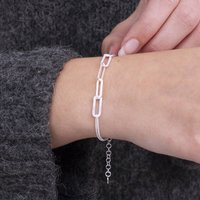 18ct Gold Or Sterling Silver Mixed Link Bracelet, Silver