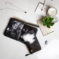 Black And White Cowhide Clutch And Purse Matching Set