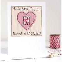 Personalised Girls Naming Day Card, Pink