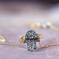 Hamsa Hand Of Fatima Diamond Pave Necklace