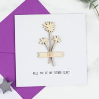Personalised Flower Girl Keepsake Card, Purple