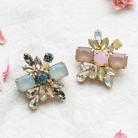 Petite Deco Cluster Pin Brooch, Blue/Pink