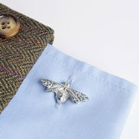 Bee Cufflinks, English Pewter And Silver Gifts For Men, Silver
