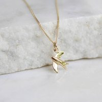 14ct Solid Gold Swallow Charm Necklace, Gold