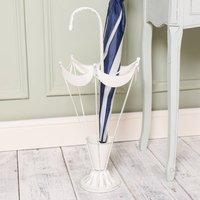 Vintage Cream Metal Umbrella Frame Stand