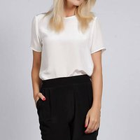 Selina Silk Top In Black Or Ivory, Black/Ivory
