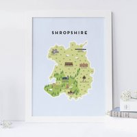 Map Of Shropshire Print
