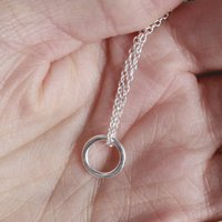 Sterling Silver Halo Necklace, Silver