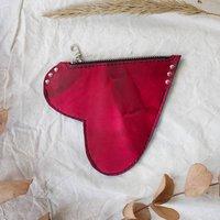 Tie Dye Leather Heart Purse With Zip