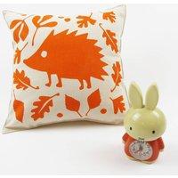 Woodland Hedgehog Nursery Cushion, Black Olive/Black/Olive