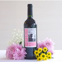 Personalised Photo Wine Bottle Red, White, Rose, Pink/Slate Blue/Blue