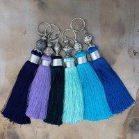 Blue Handmade Silky Tassel Key Ring, Blue/Navy Blue/Navy