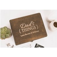 Personalised Dad's Things Cufflink And Watch Box