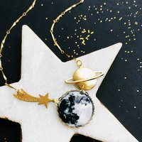Personalised Moon And Shooting Star Necklace