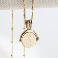 Personalised Small Gold Sterling Spinning Disc Necklace, Gold