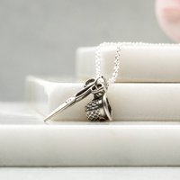 Thimble And Scissors Sewing Charm Necklace