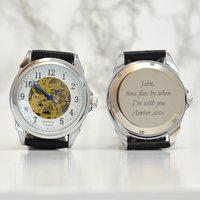 Engraved Mechanical Skeleton Wrist Watch