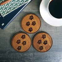 Wooden Drinks Coasters With Paw Prints Design