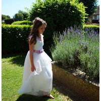 Vivian ~ Flower Girl In White Or Ivory, White/Baby Blue/Blue