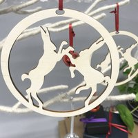 Boxing Hares Christmas Decoration