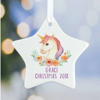 Unicorn Christmas Decoration Ceramic Star A2