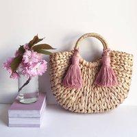 Rounded Straw Tassel Bag