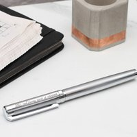Personalised Textured Rhodium Rollerball Pen