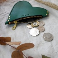 Leather Heart Purse With Zip